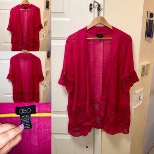 Pink plus size kimono